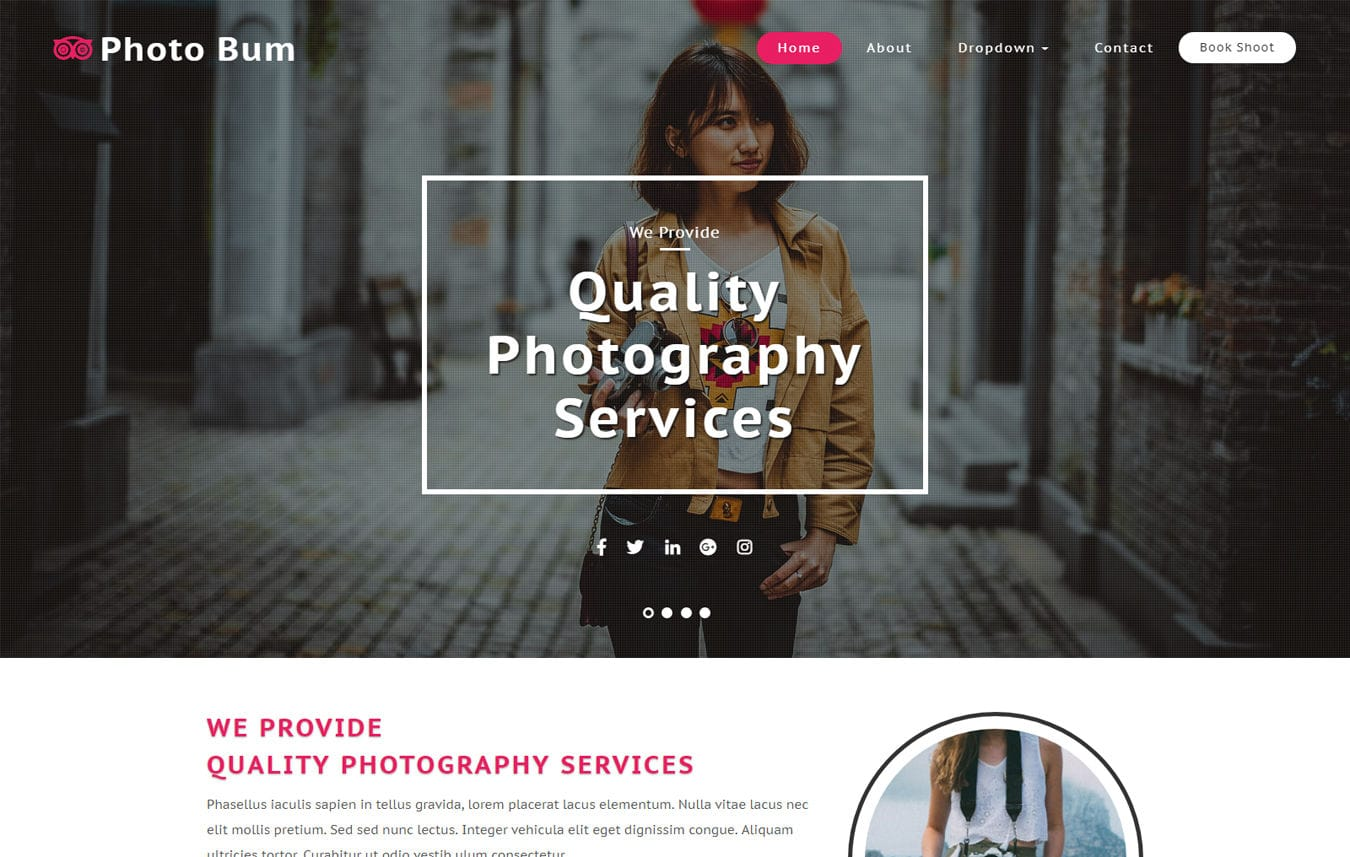Photo Bum Photo Gallery Category Bootstrap Responsive Web Template. Mobile website template Free