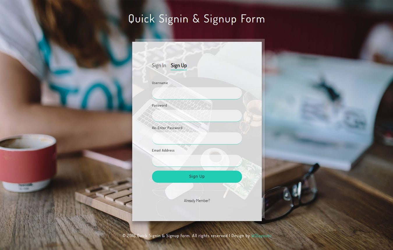Quick Sign in and Signup Form Flat Responsive Widget Template Mobile website template Free