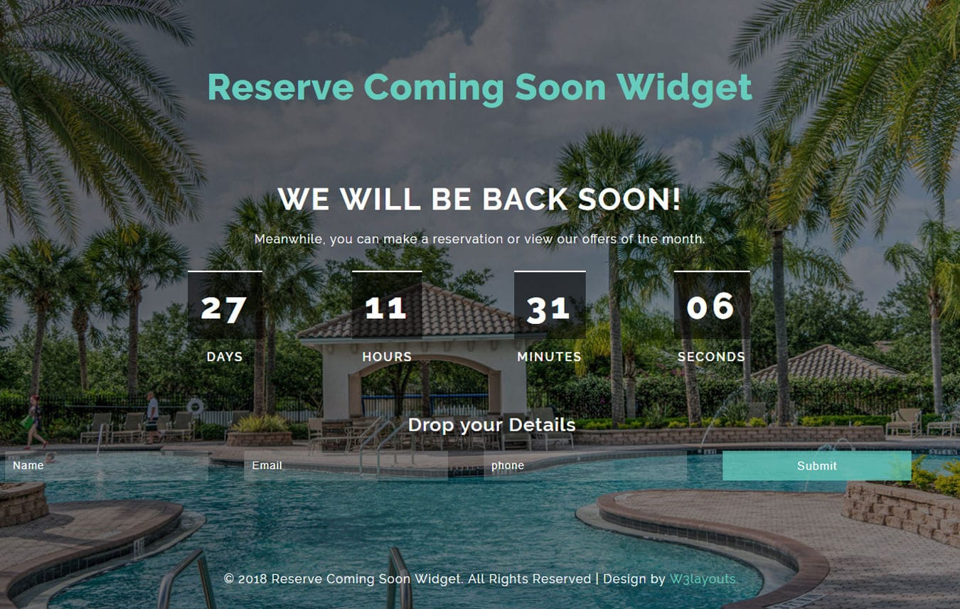 Reserve Coming Soon Flat Responsive Widget Template Mobile website template Free
