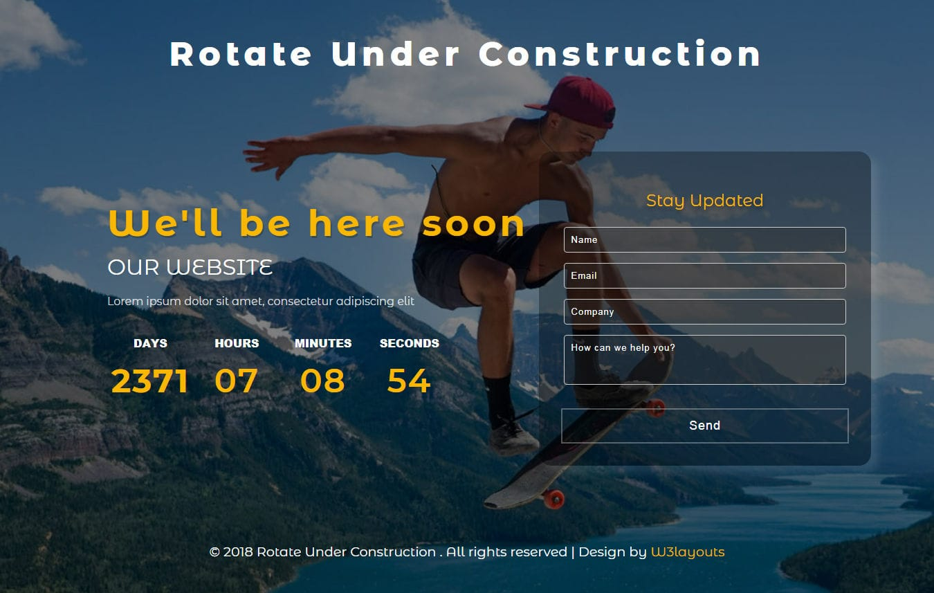 Rotate Under Construction Flat Responsive Widget Template Mobile website template Free