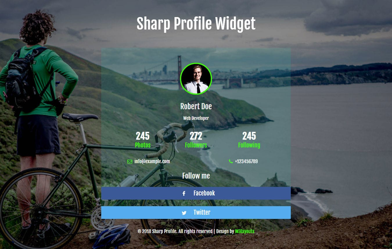 Sharp Profile Flat Responsive Widget Template Mobile website template Free