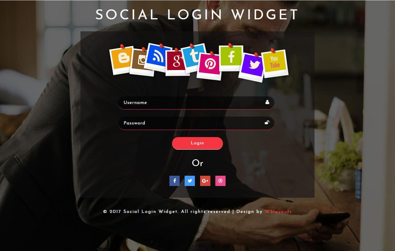 Social Login Widget a Flat Responsive Widget Template Mobile website template Free
