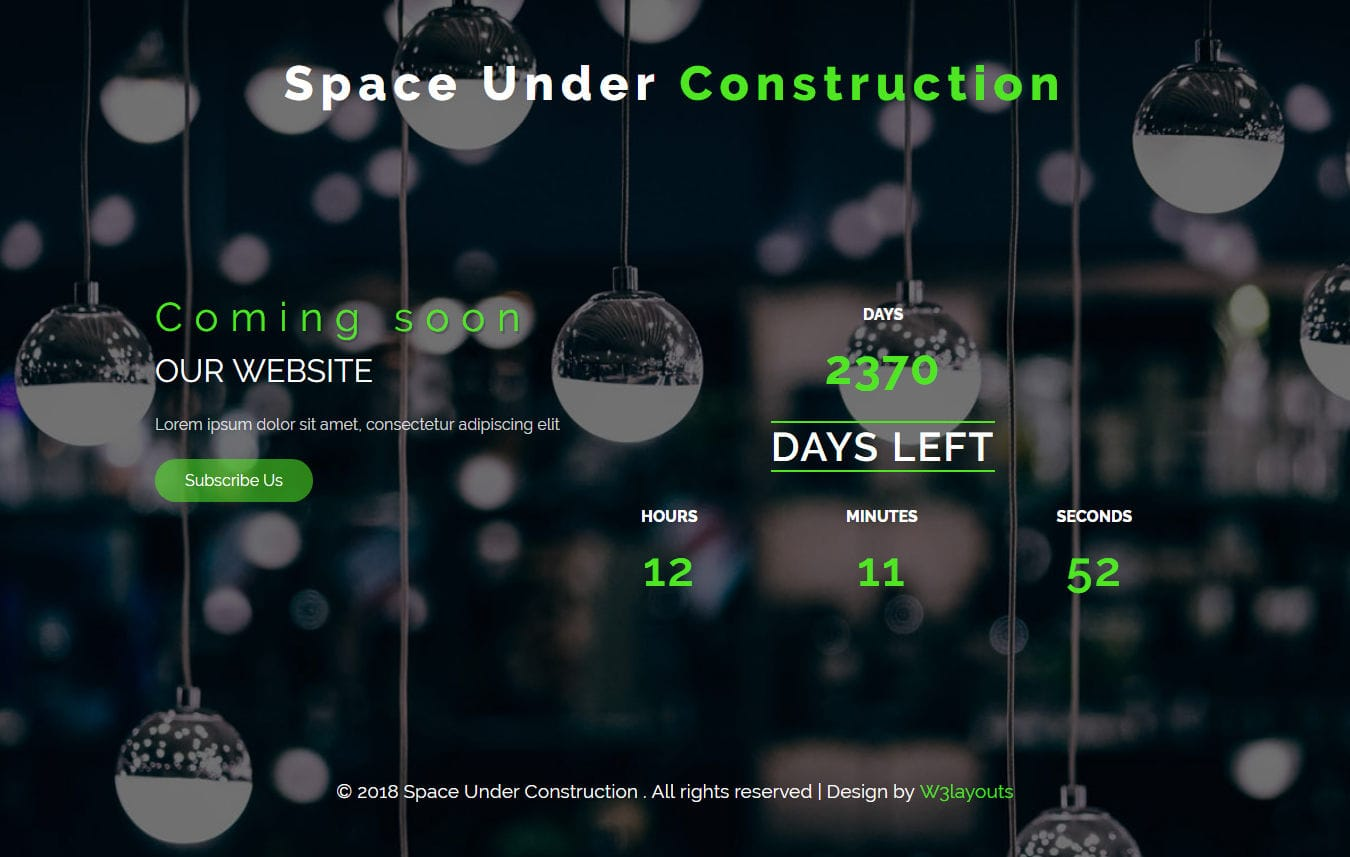 Space Under Construction Flat Responsive Widget Template Mobile website template Free