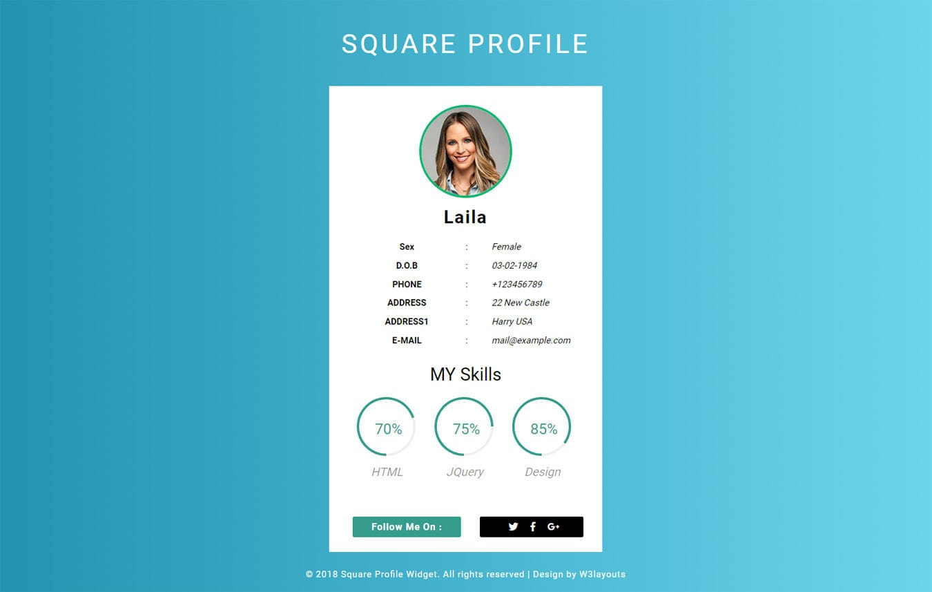 Square Profile Widget Flat Responsive widget Template. Mobile website template Free