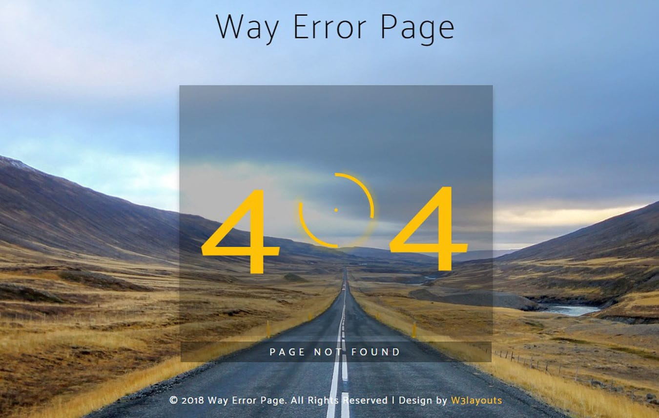 Way Error Page Flat Responsive Widget Template Mobile website template Free