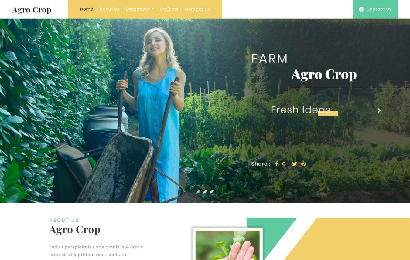 Agro Crop Agriculture Category Bootstrap Responsive Web Template. Mobile website template Free