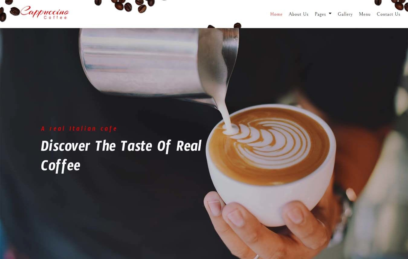 Cappuccino Coffee – Restaurants Category Bootstrap Responsive Web Template Mobile website template Free