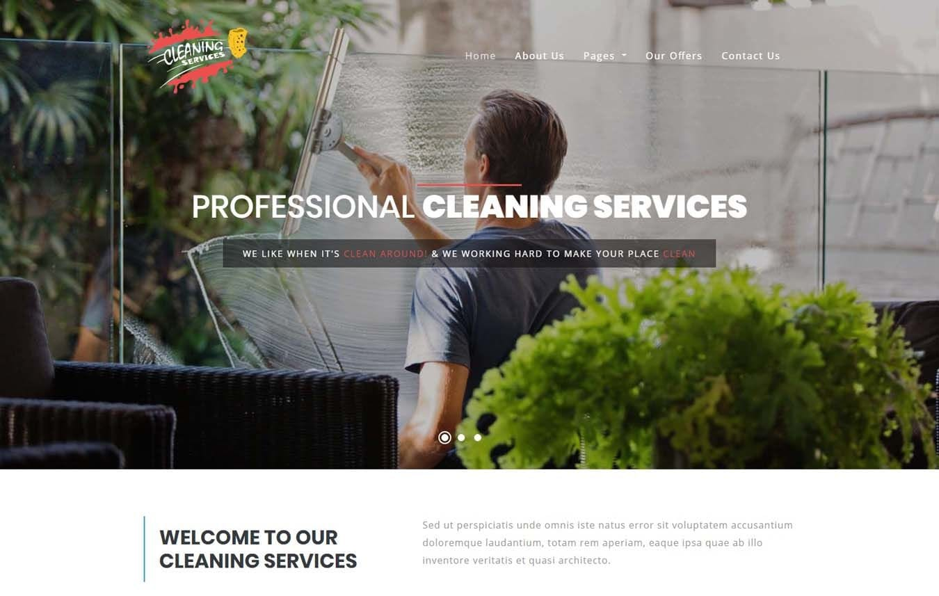 Cleaning Services – Home Service Category Bootstrap Responsive Template Mobile website template Free