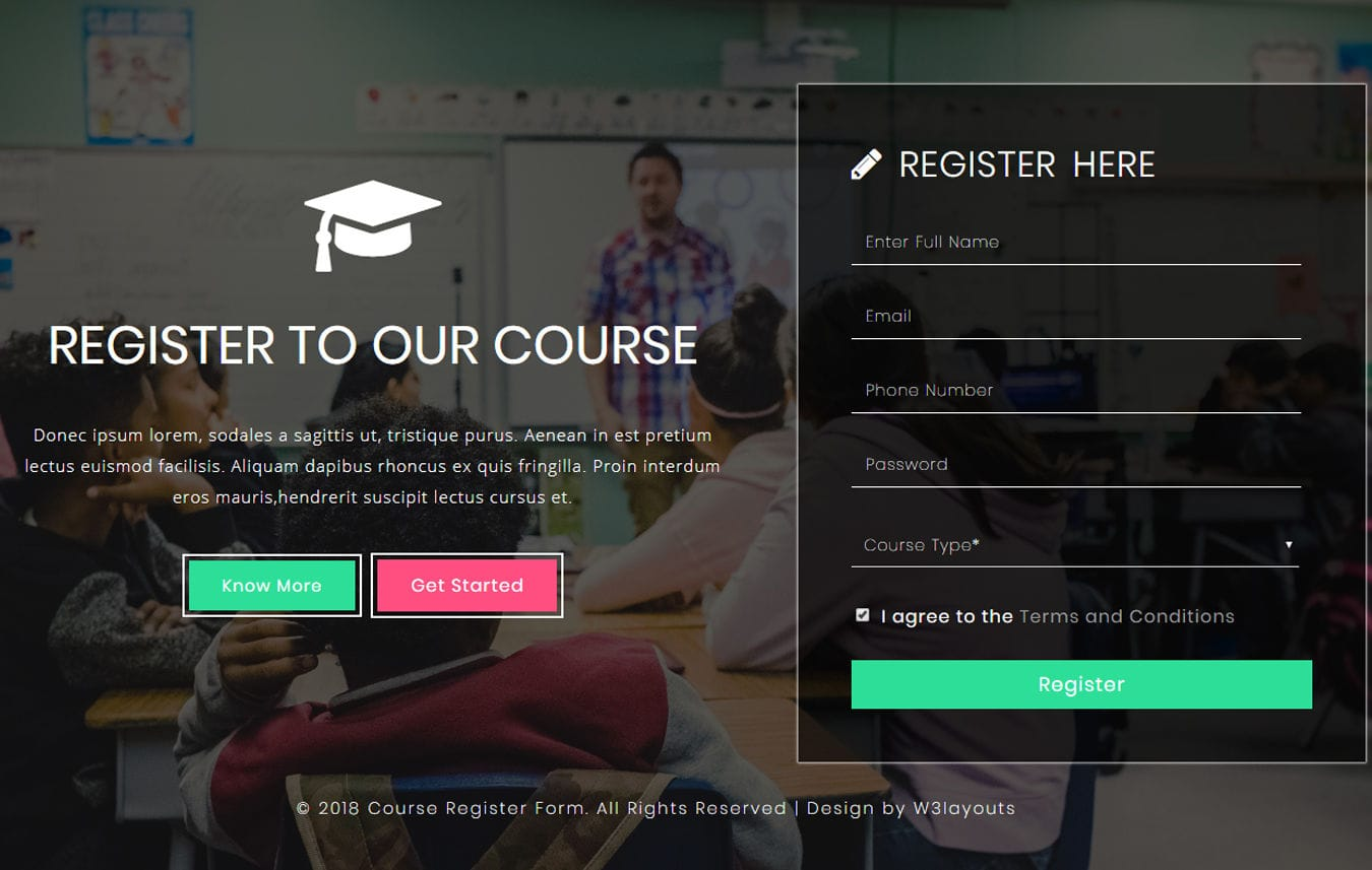 Course Register Form a Flat Responsive Widget Template Mobile website template Free