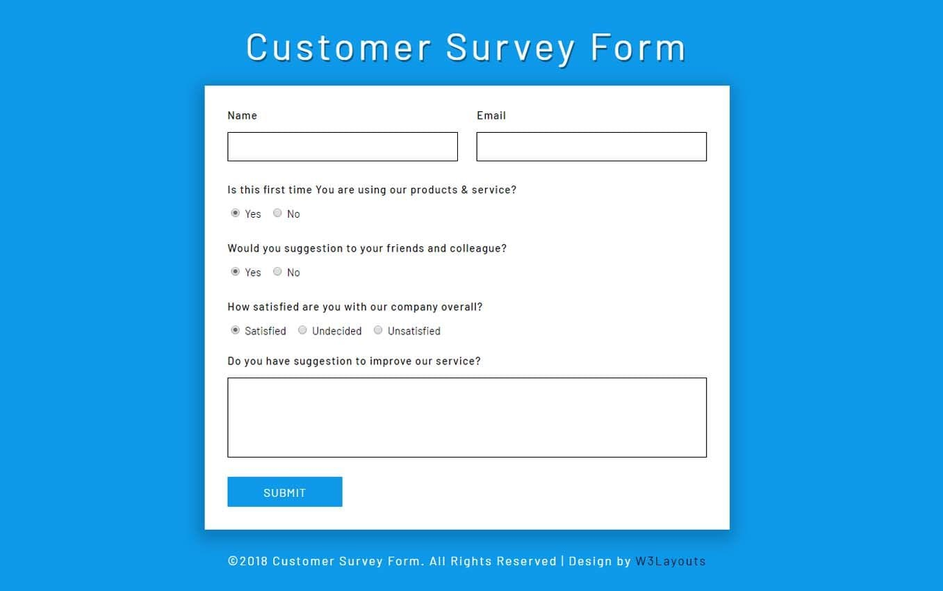 Customer Survey Form a Flat Responsive Widget Template Mobile website template Free