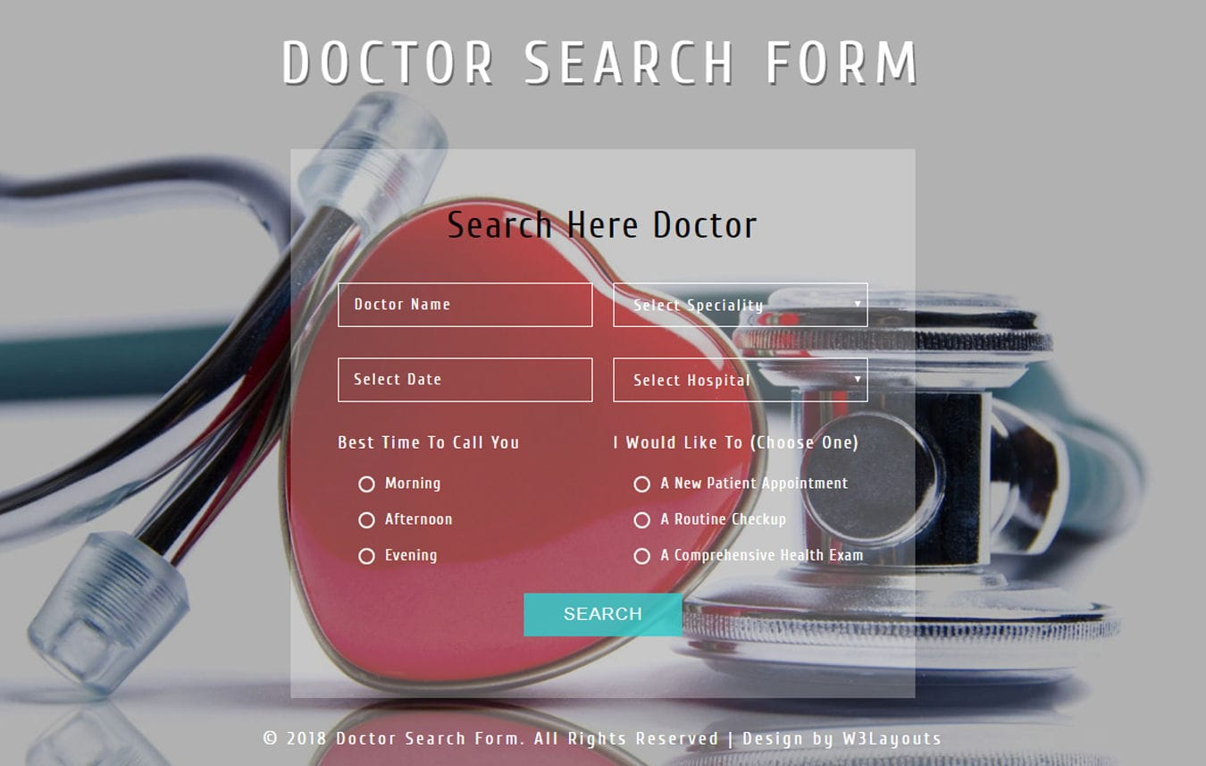 Doctor Search Form Flat Responsive Widget Template Mobile website template Free