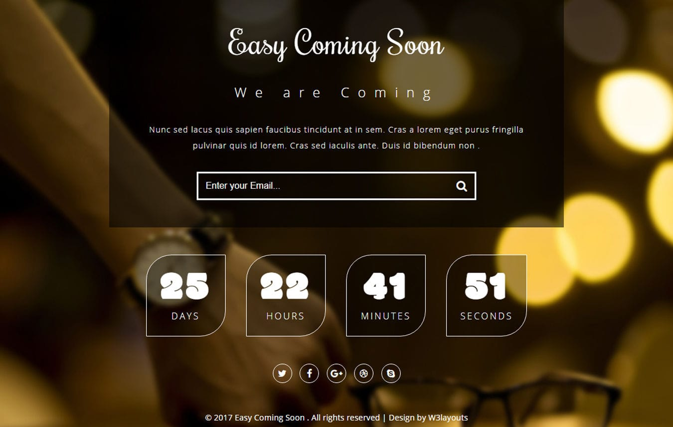 Easy Coming Soon a Flat Responsive Widget Template Mobile website template Free