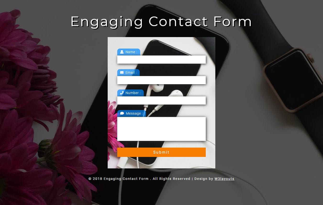 Engaging Contact Form Responsive Widget Template Mobile website template Free