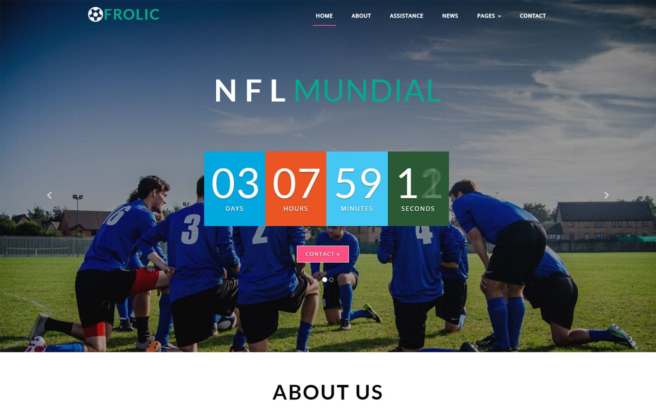 Frolic Sports Category Bootstrap Responsive Web Template Mobile website template Free