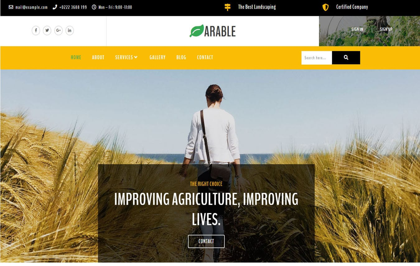 Arable Agriculture Category Bootstrap Responsive Web Template. Mobile website template Free