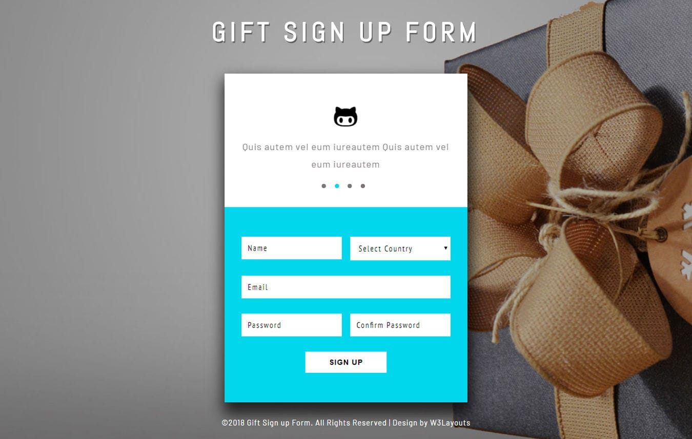 Gift Sign up Form Flat Responsive Widget Template Mobile website template Free