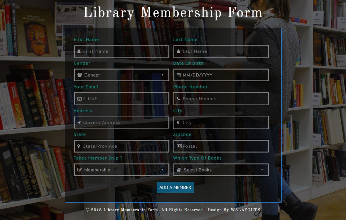 Library Membership Form Responsive Widget Template Mobile website template Free