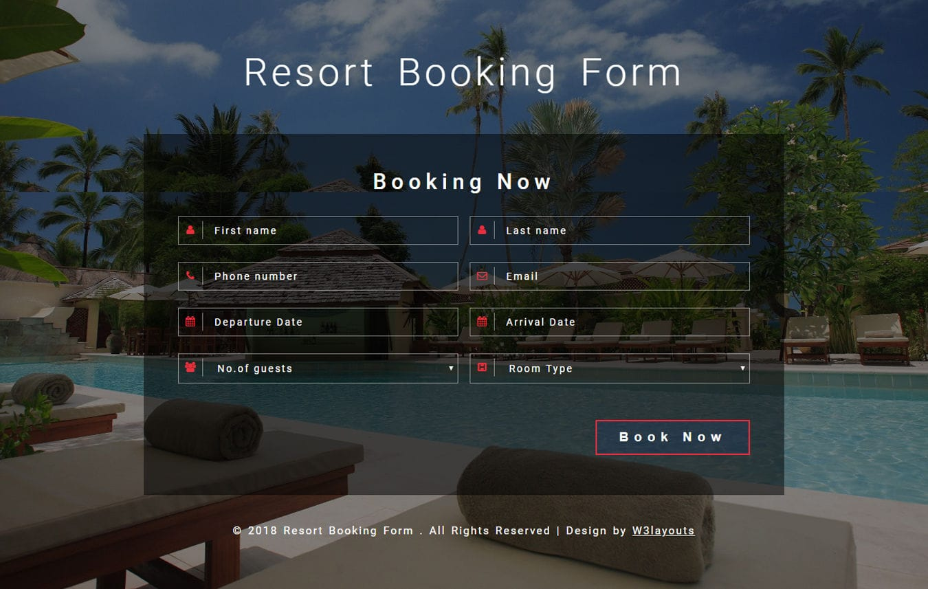 Resort Booking Form Flat Responsive Widget Template Mobile website template Free