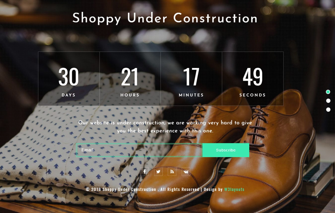 Shoppy Under Construction Flat Responsive Widget Template Mobile website template Free