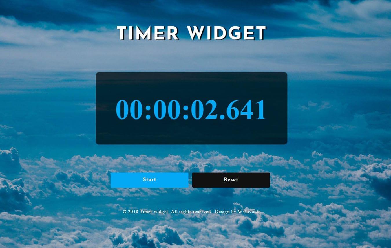 Timer Widget Flat Responsive Widget Template Mobile website template Free