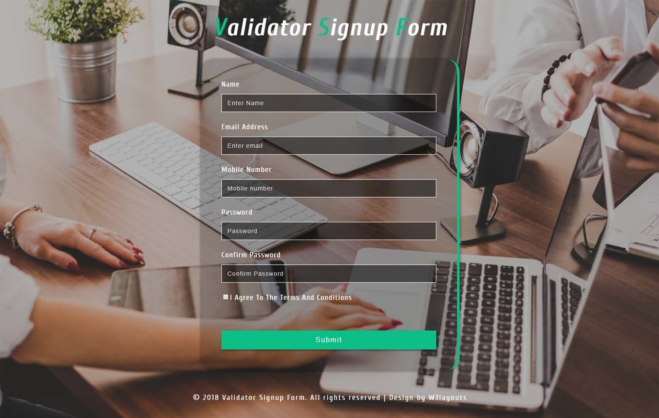Validator Signup Form Responsive Widget Template. Mobile website template Free