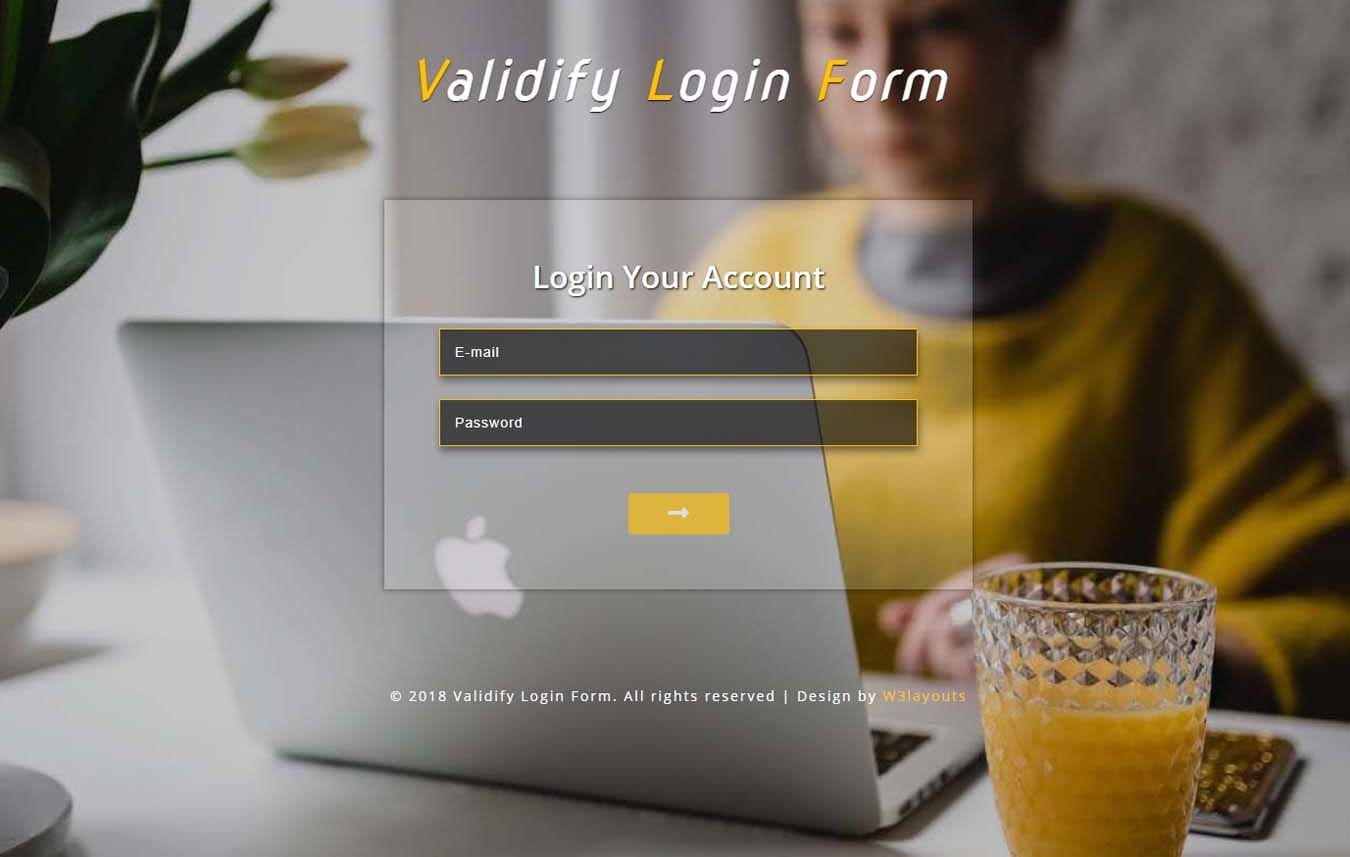 Validify Login Form Flat Responsive Widget Template Mobile website template Free