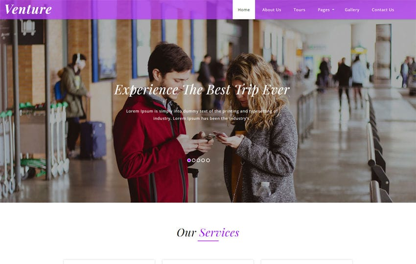 Venture Travel Category Bootstrap Responsive Web Template. Mobile website template Free