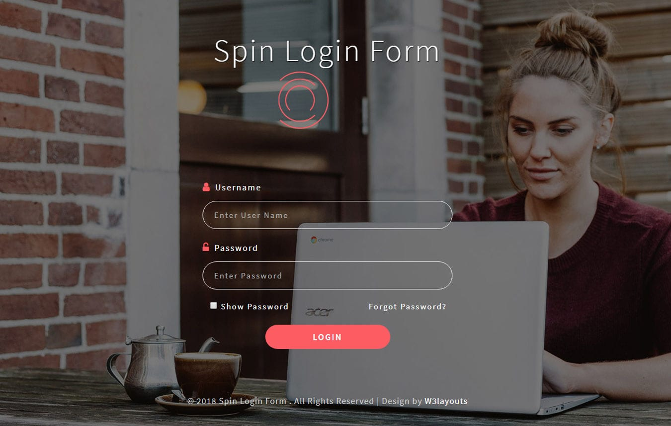 Spin login Form Flat Responsive Widget Template. Mobile website template Free