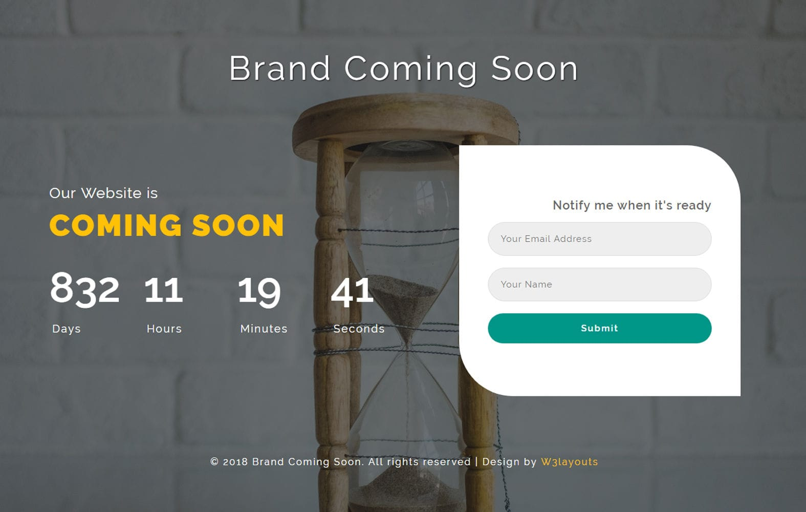 Brand Coming Soon Flat Responsive Widget Template. Mobile website template Free