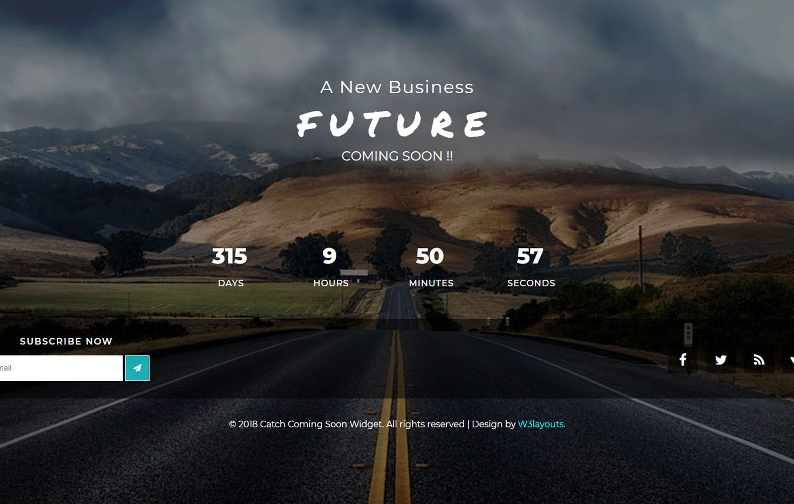 Catch Coming Soon Flat Responsive Widget Template Mobile website template Free