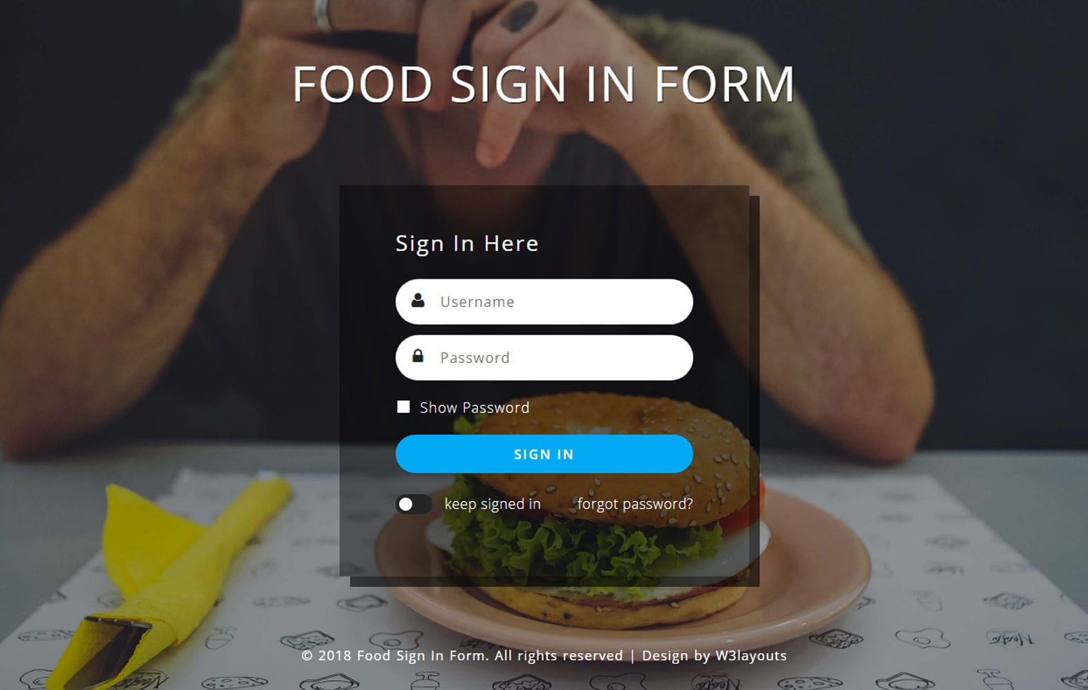 Food Sign In Form Flat Responsive Widget Template. Mobile website template Free