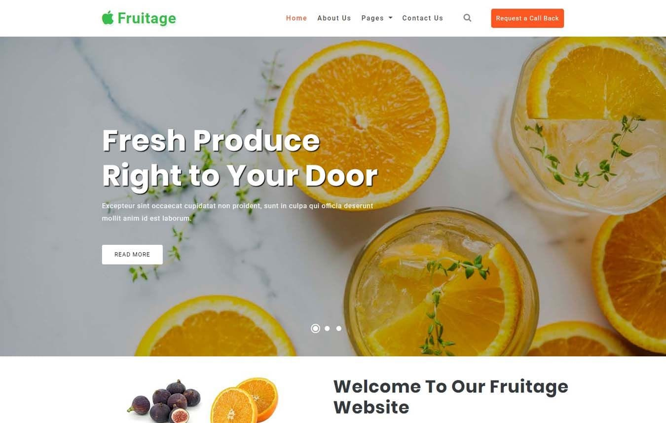 Fruitage Agriculture Category Bootstrap Responsive Web Template. Mobile website template Free