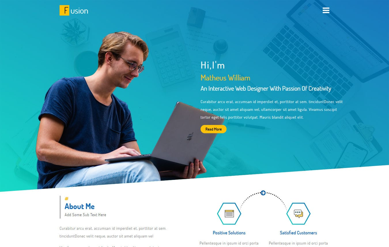 Fusion a Personal Category Flat Bootstrap Responsive Web Template Mobile website template Free