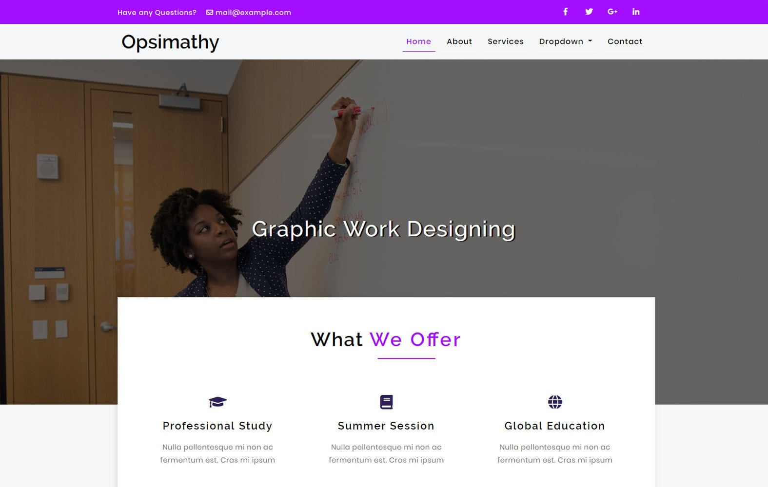 Opsimathy Education Category Bootstrap Responsive Web Template. Mobile website template Free