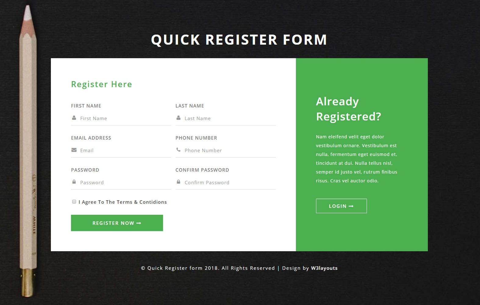 Quick Register Form Flat Responsive Widget Template. Mobile website template Free