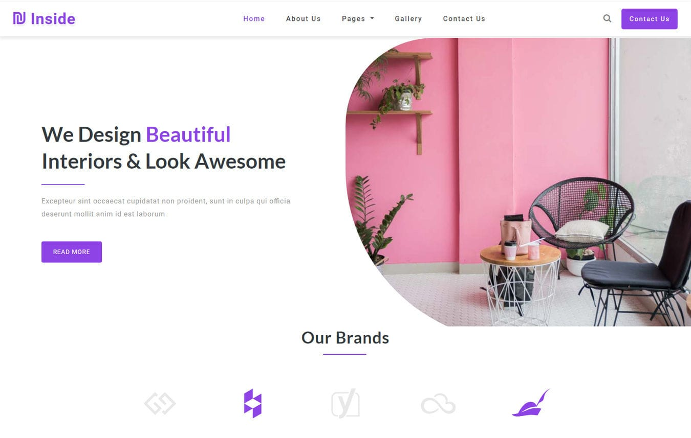 Inside Interior Category Bootstrap Responsive Website Template. Mobile website template Free