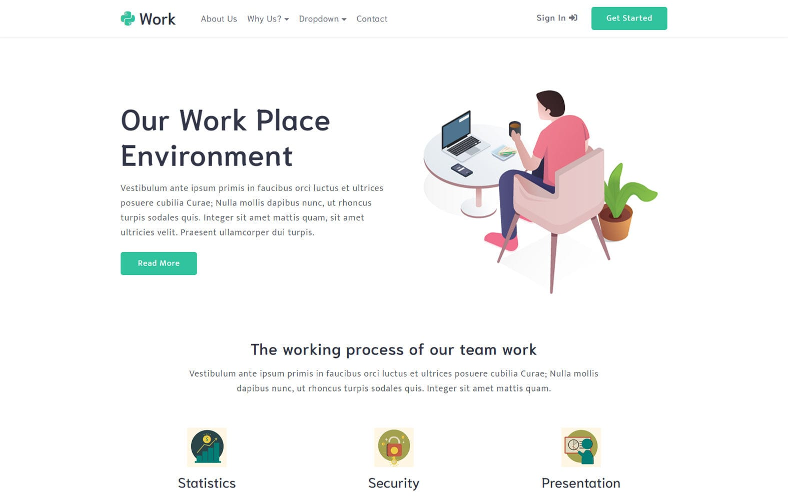 Work a Business Category Bootstrap Responsive Web Template Mobile website template Free