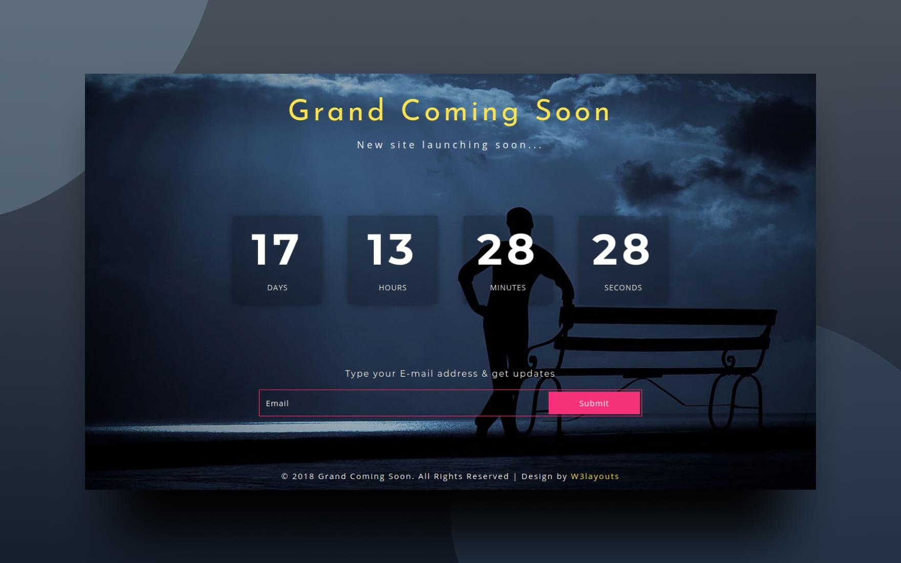 Grand Coming Soon Responsive Widget Template