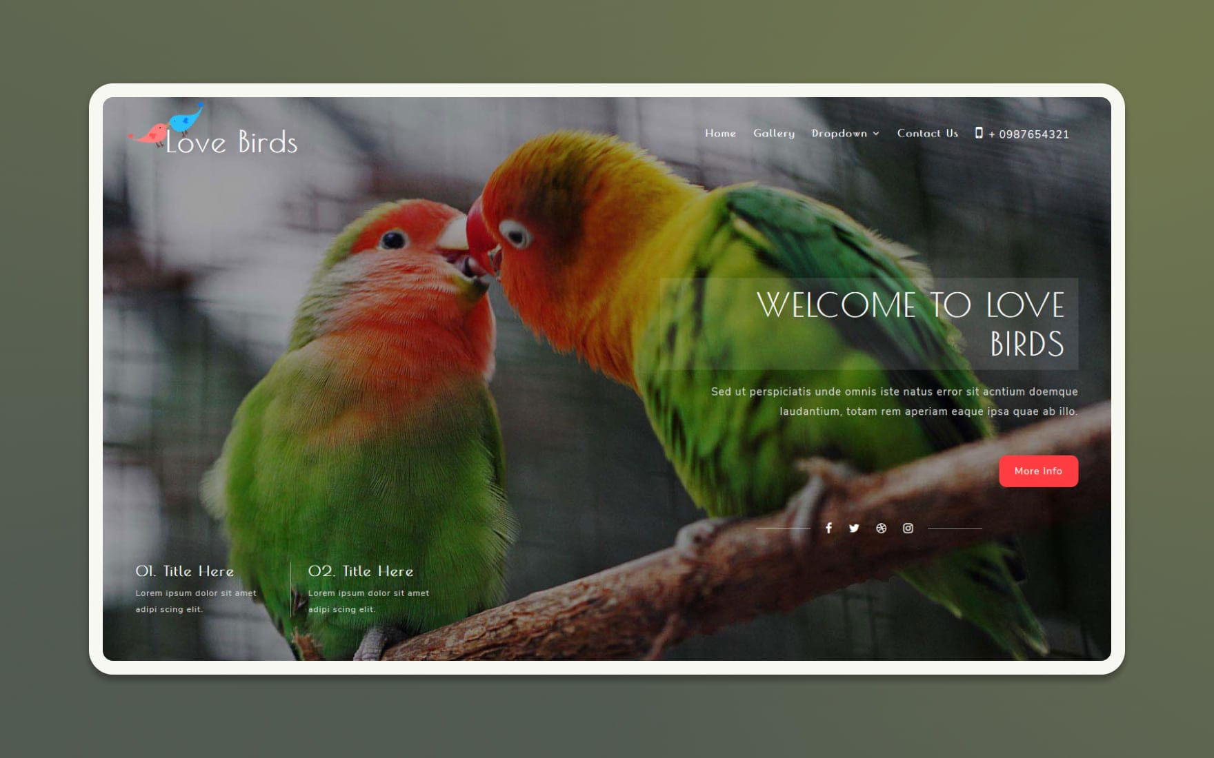 Love Birds Website Template Animals Pets W3layouts